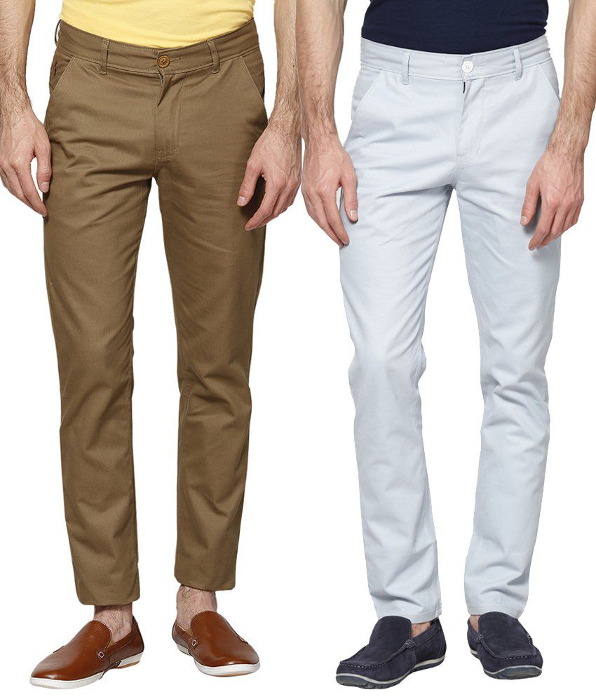 Haute Couture Combo Of Sober Brown & Blue Chinos