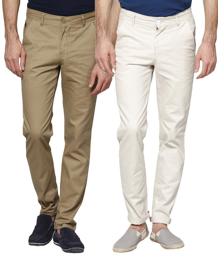 Haute Couture Combo Of Sober Brown & White Chinos