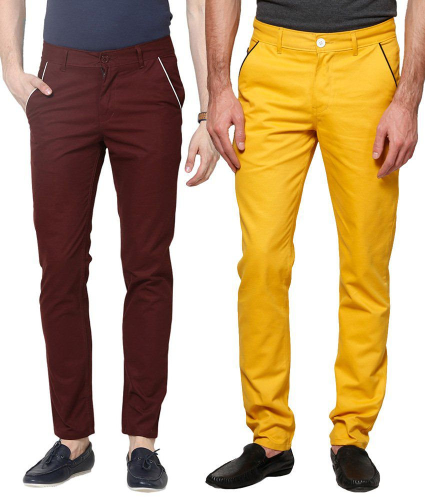 Haute Couture Combo Of Stylish Maroon & Yellow Chinos