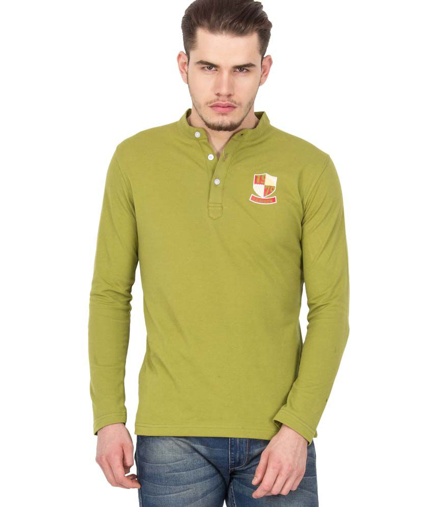 Le bison green cotton full sleeve polo t shirt buy le for Full sleeve polo t shirts