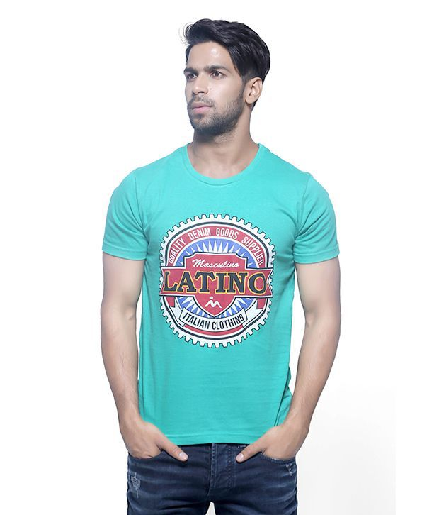 Masculino Latino Green Cotton Half Sleeve T Shirt