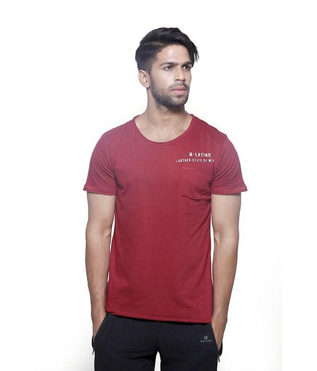 Masculino Latino Maroon Cotton Half Sleeve T Shirt