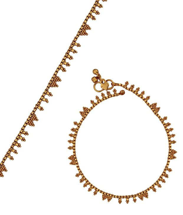 Kushi Magnificent Pair Of Plain Gold Plated Anklets
