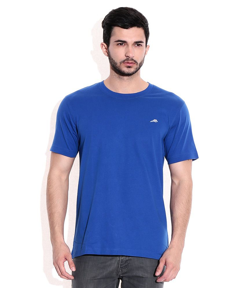 2go Blue Cotton Round Neck T-Shrits