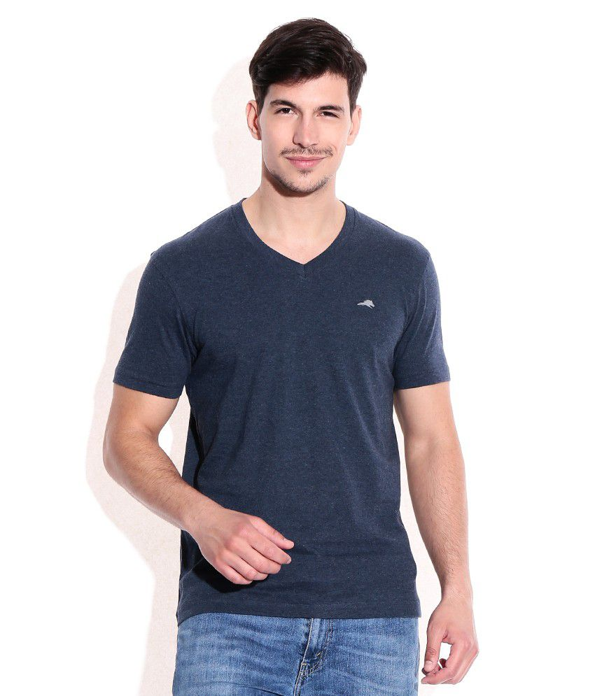2go Blue Cotton V-Neck T-Shrits