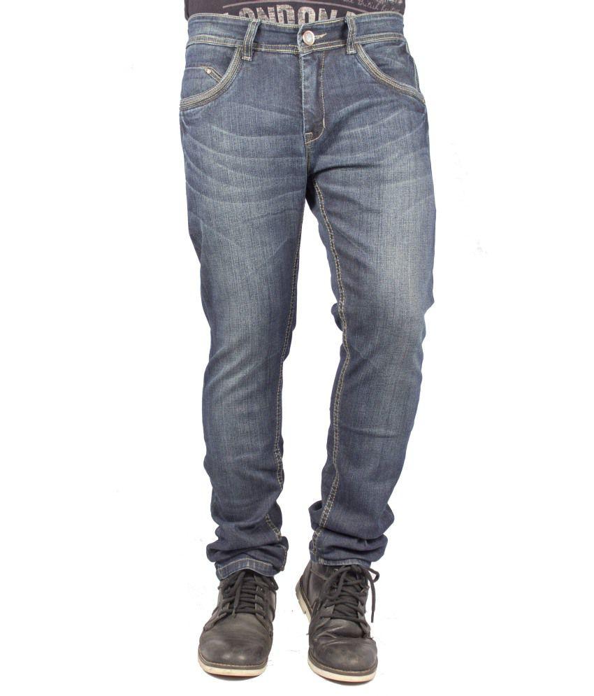 FBM Black Cotton Blend Jeans For Men
