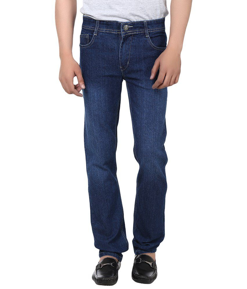 Jack Berry Blue Cotton Blend Regular Fit Faded Jeans