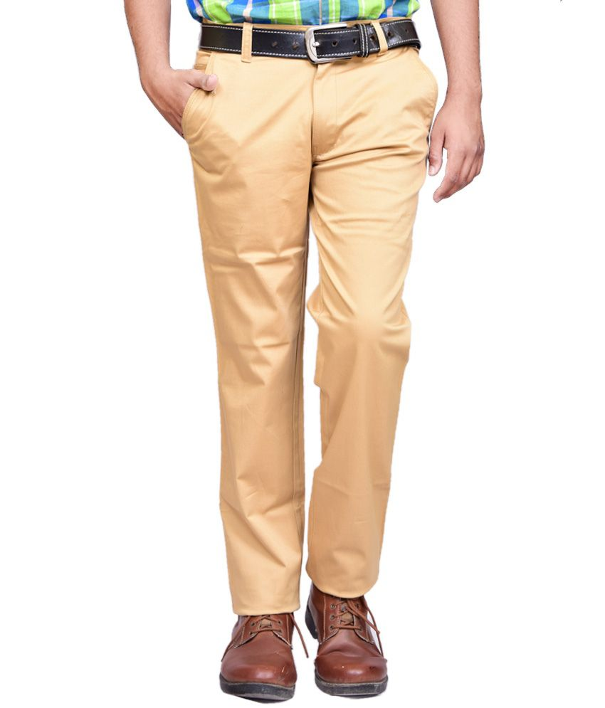 British Terminal Goldenrod Cotton Lycra Casual Chinos