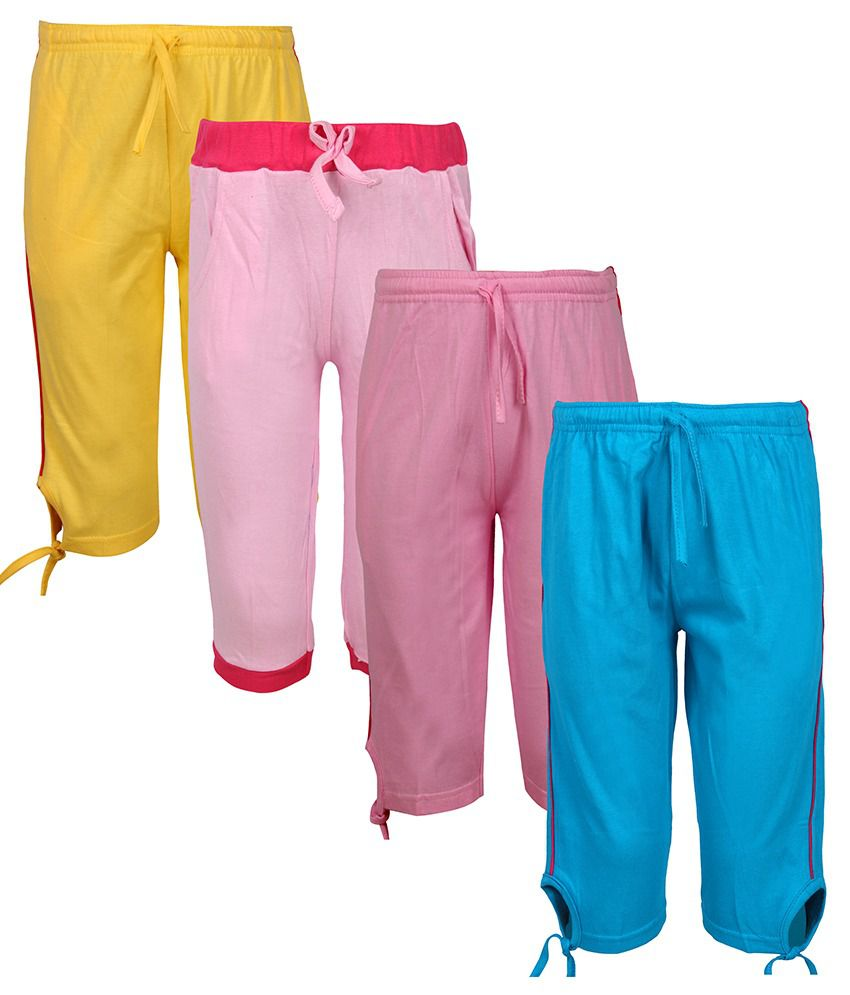 Jazzup Multicolour Elastic Waist Cotton 3/4th Capri - Pack of 3