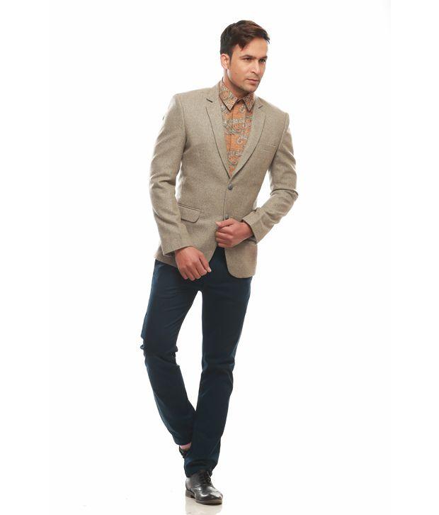 Jogur Beige Cotton Blend Formal Blazer