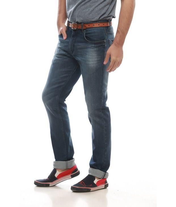 Jogur Blue Cotton Blend Slim Jeans