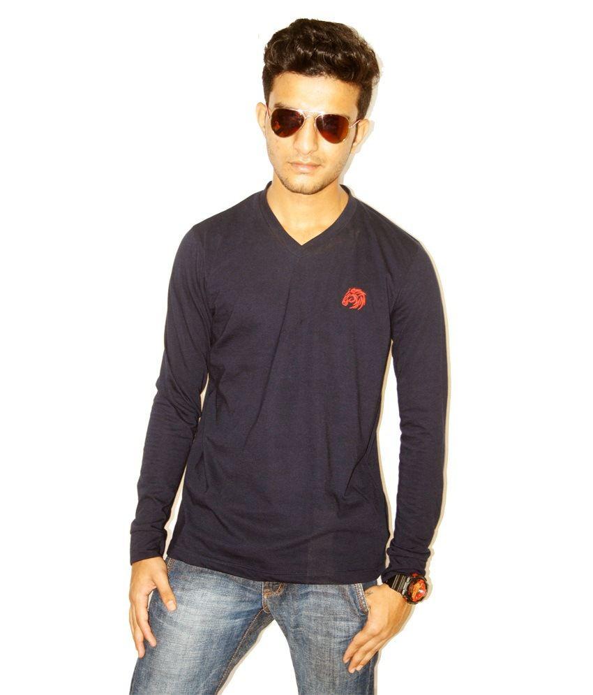 Clydesdale Navy Cotton V-Neck Basics T Shirt