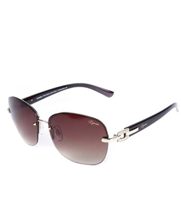 Izarra Brown Metal Round Rectangle Sunglasses