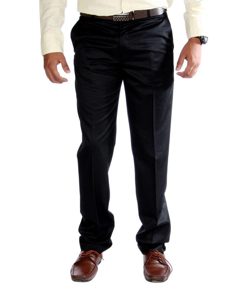 J Marks Black Cotton Slim Fit Formals Trouser For Men