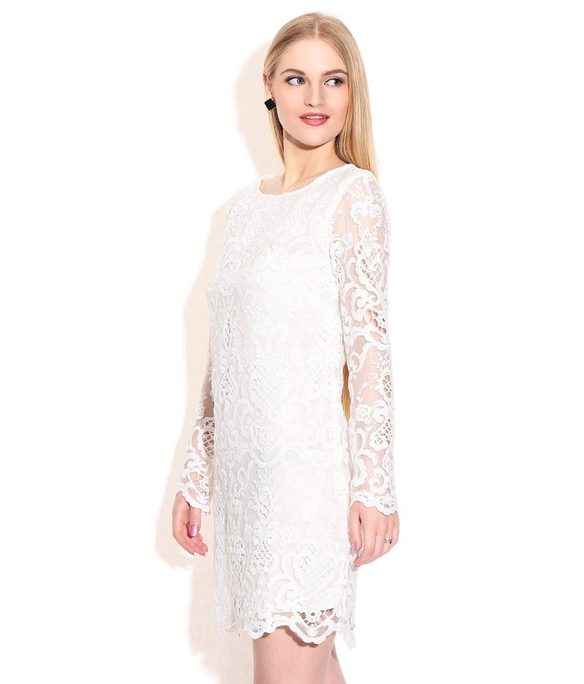 e6b7b2204c25 Fcuk White Lace Dress - Buy Fcuk White Lace Dress Online at Best Prices in  India on Snapdeal