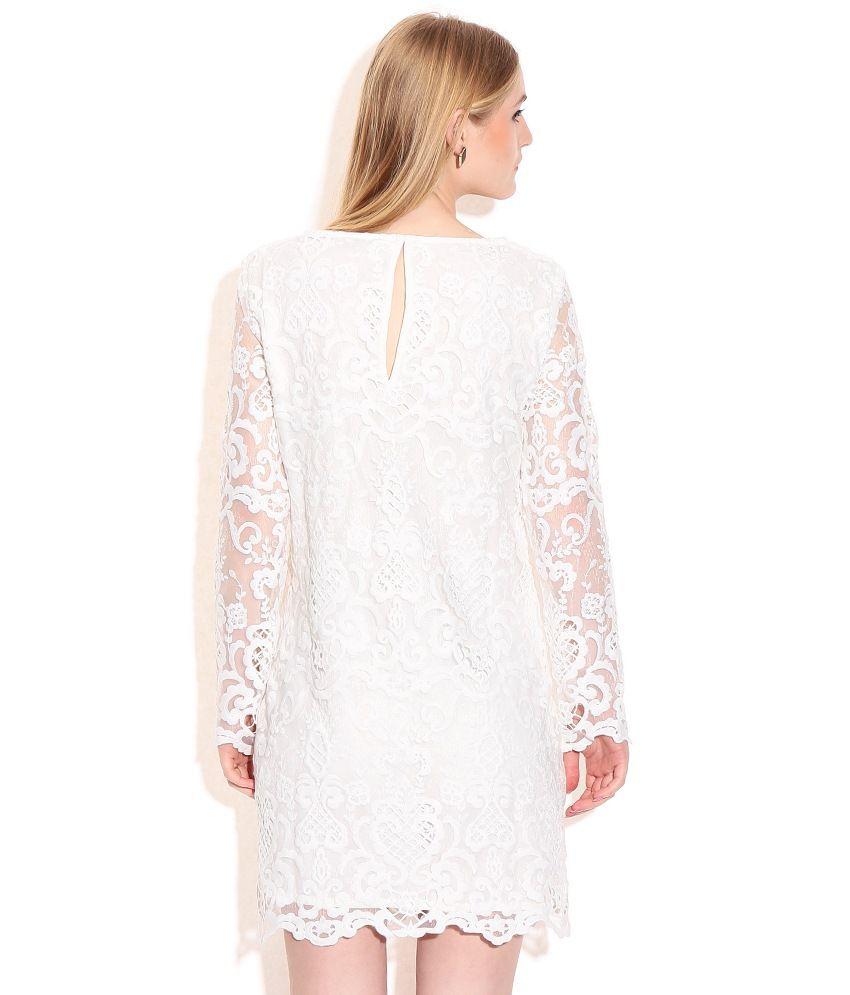 Fcuk White Lace Dress - Buy Fcuk White Lace Dress Online at Best ... 49a4bd969