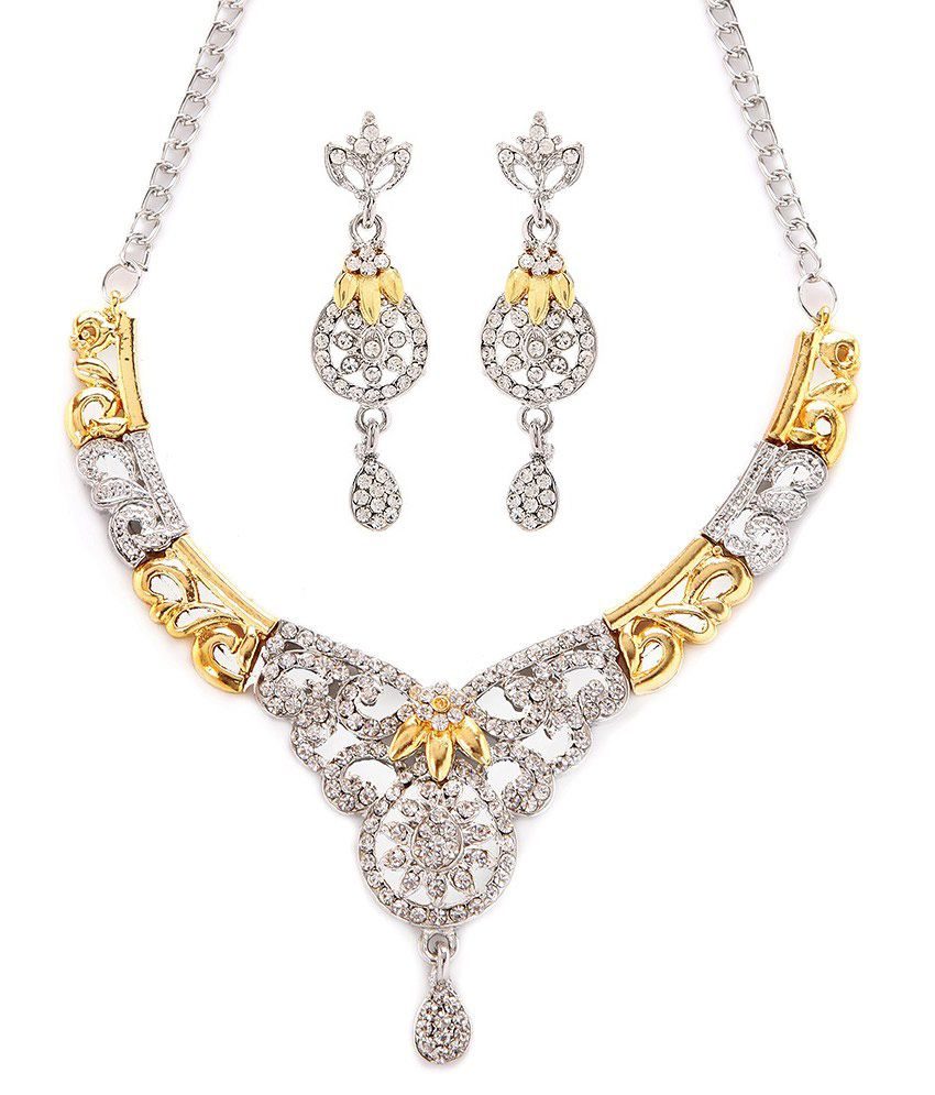 American Diamond Traditional Necklace Set by GoldNera