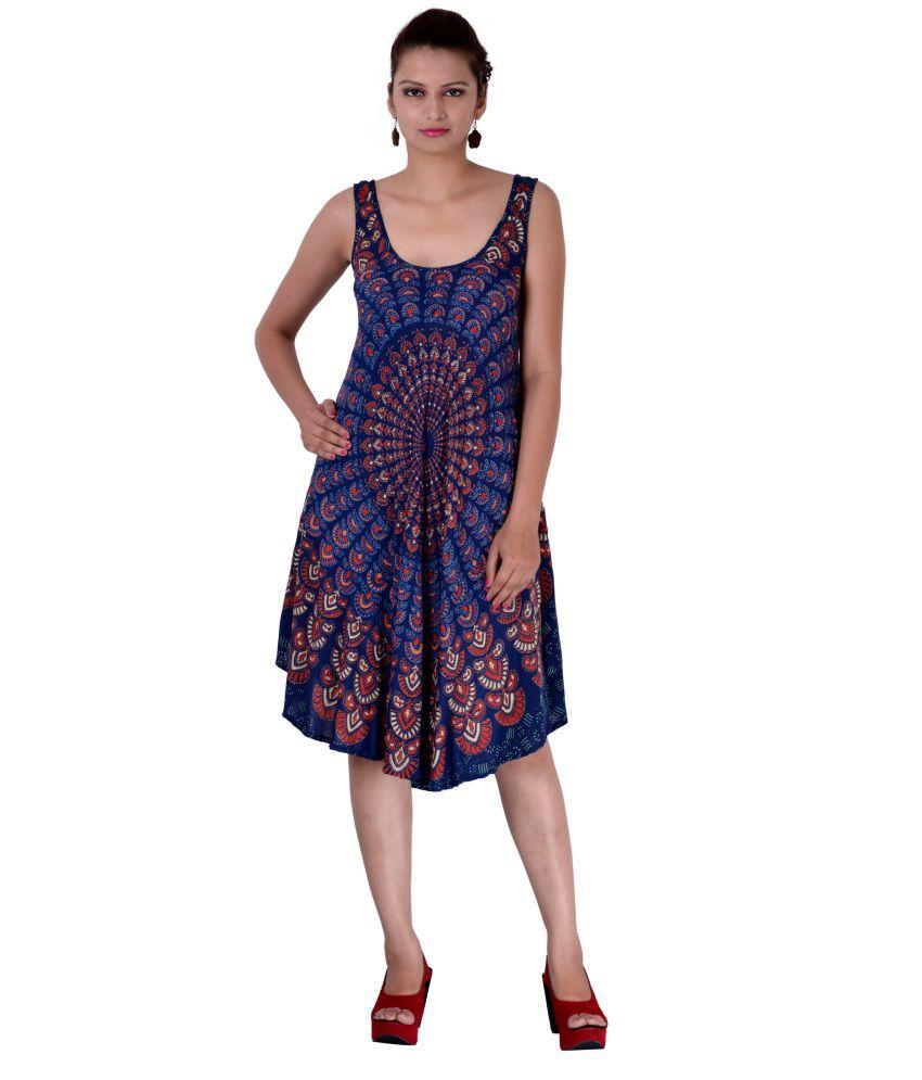 Indi Bargain Rayon Blue A- line Dress