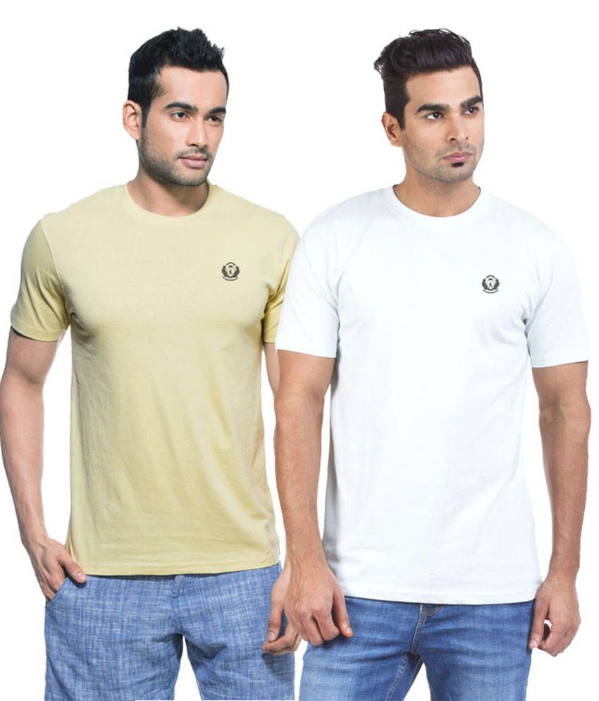 D Vogue London Beige Cotton Round Neck Half Sleeves T-Shirt - Pack of 2