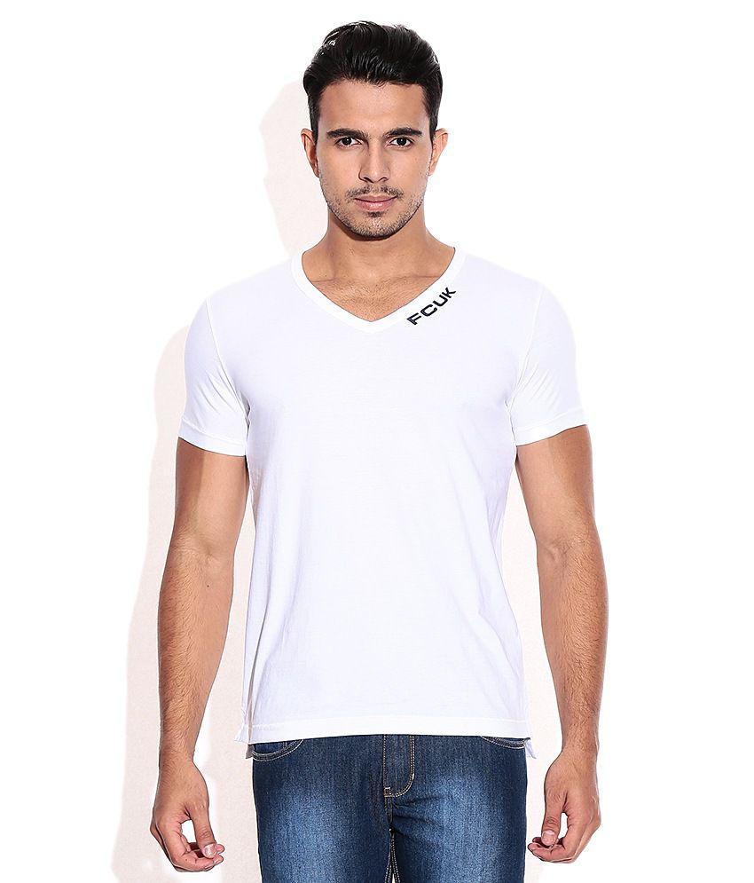 Fcuk White V-Neck T-Shirt