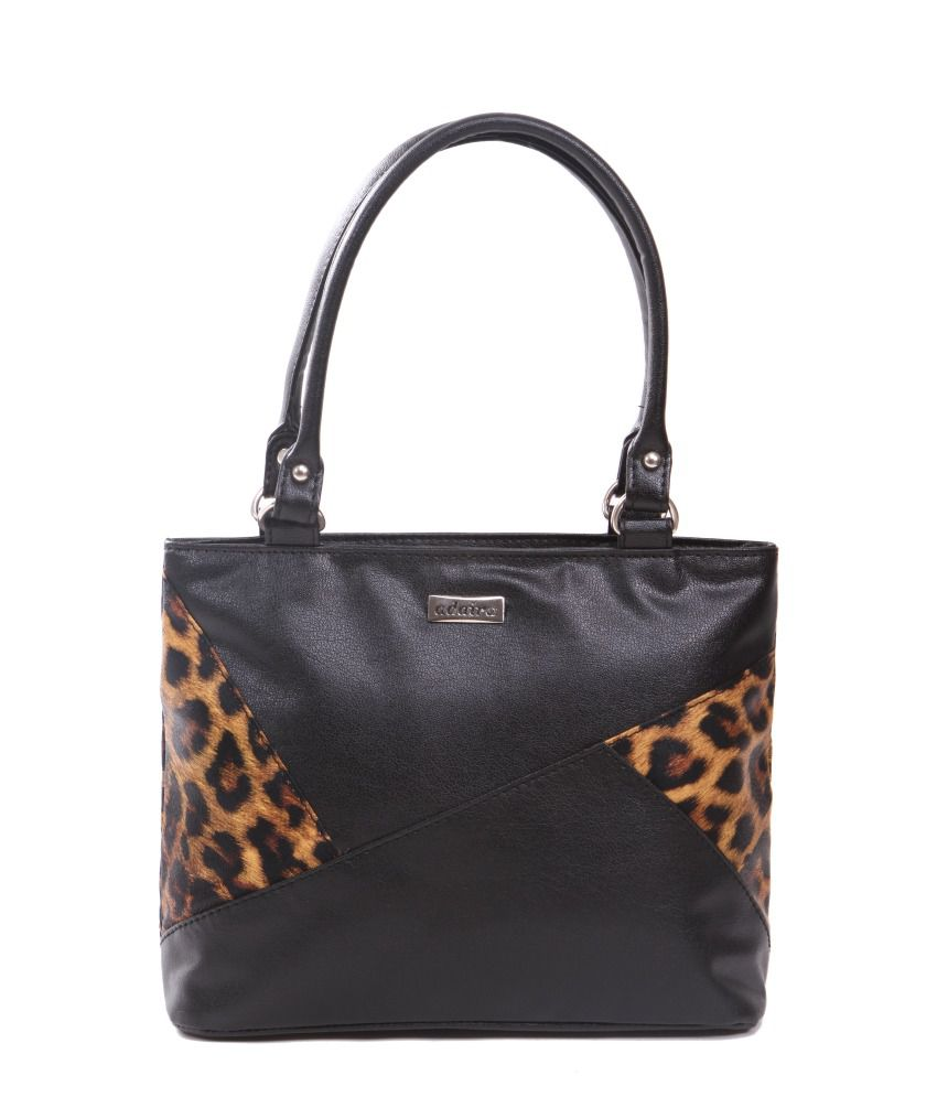 Adaira Black P.U. Zip Tote Bag