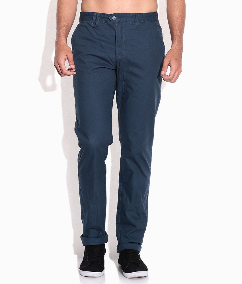 Cherokee Navy Slim Fit Casual Trousers
