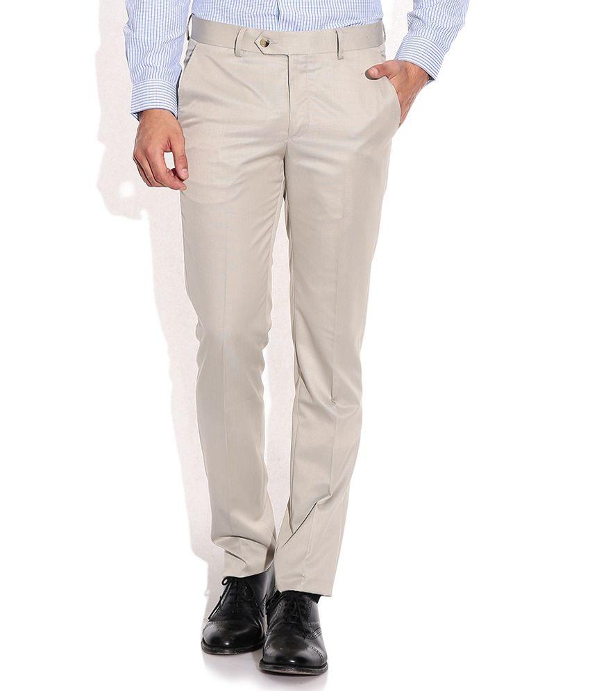 Excalibur Beige Super Skinny Fit Formal Trousers