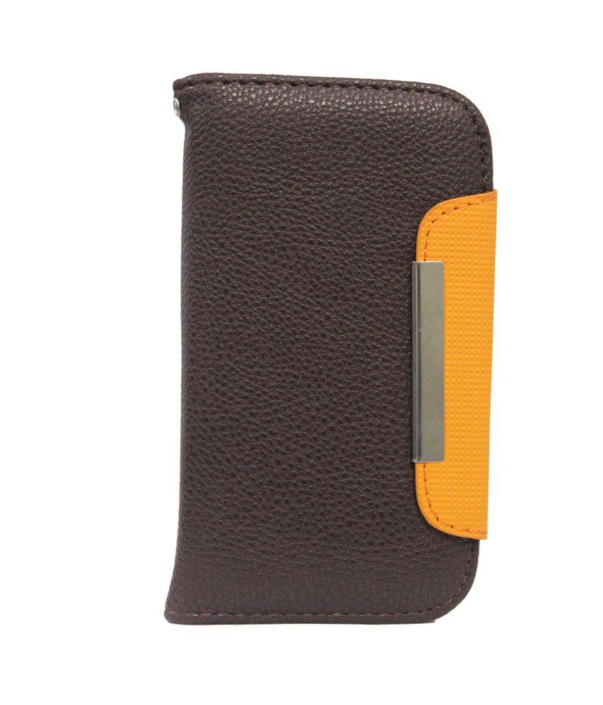 Jo Jo Z Flip Case Cover For Micromax A47 Bolt - Brown And Orange