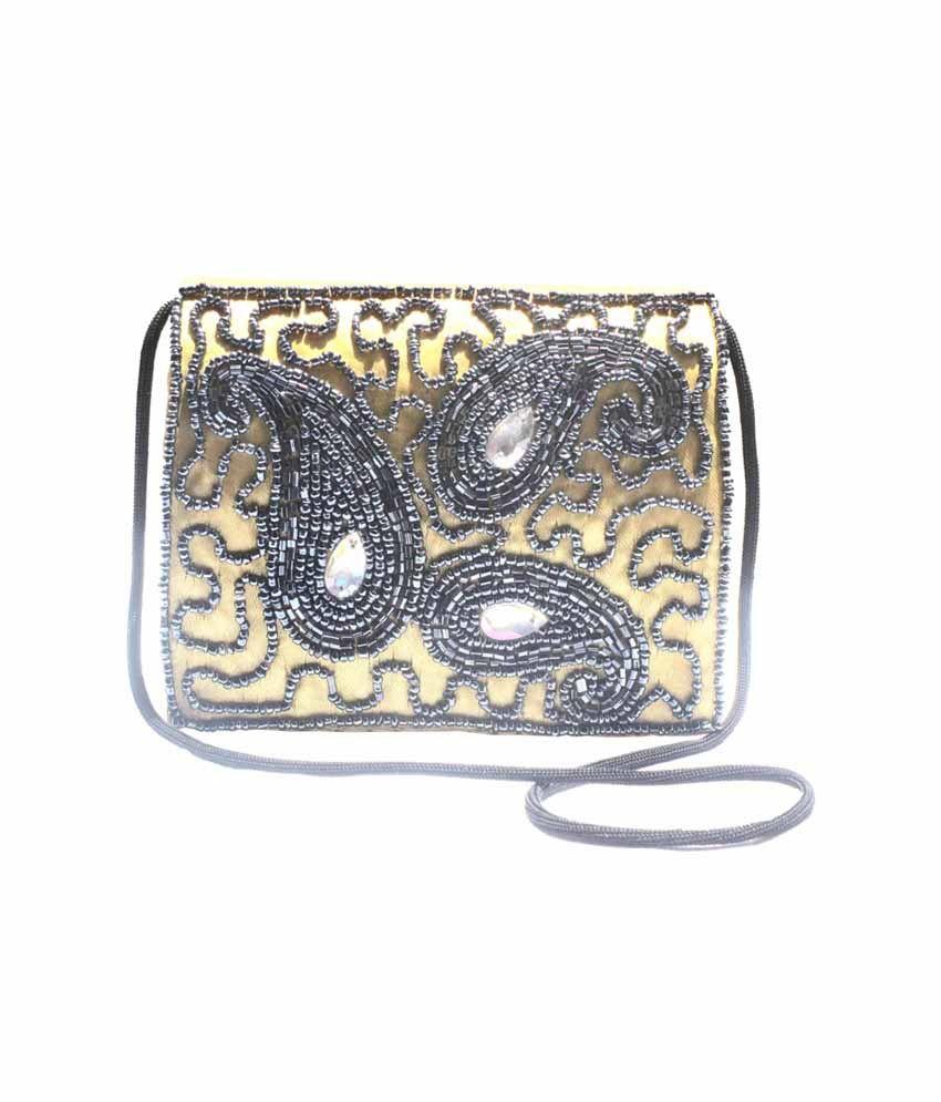 Jugnu Zari Handicraft Gold Magnit Button Sling Bags
