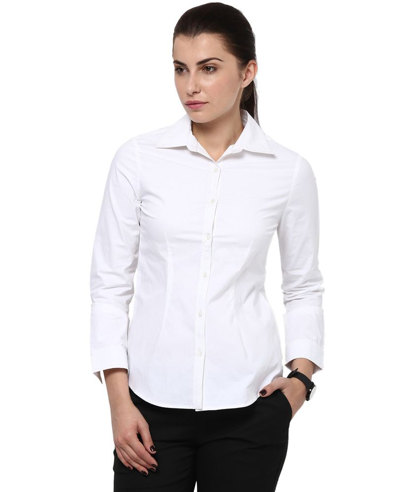 0b635ce5600 Buy Kaaryah Women s White Full Sleeve Formal Shirts Online at Best Prices  in India - Snapdeal