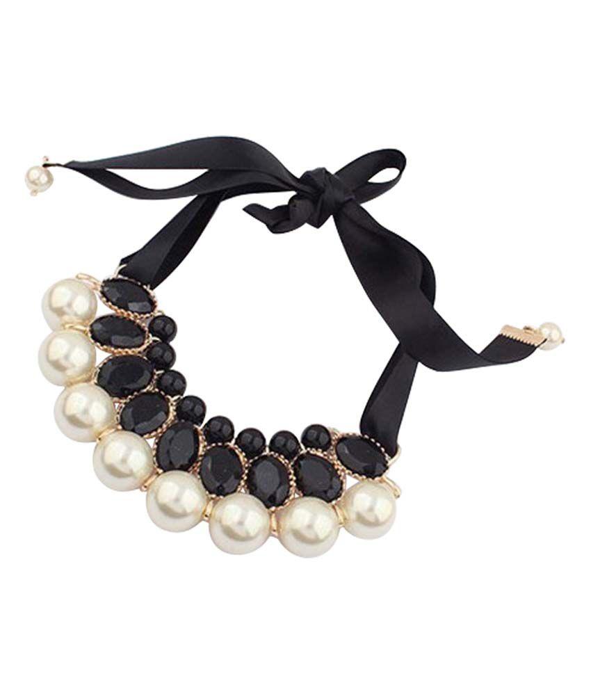 Stylovy Black Alloy Choker Coloured Bead Necklace