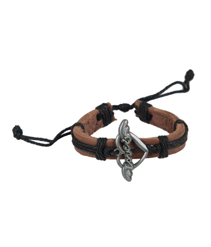 Taj Pearl Love Wings Brown Leather Bracelet