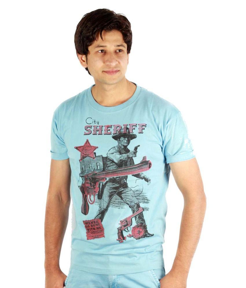 Barfi Blue Cotton Printed Round Neck T-shirt