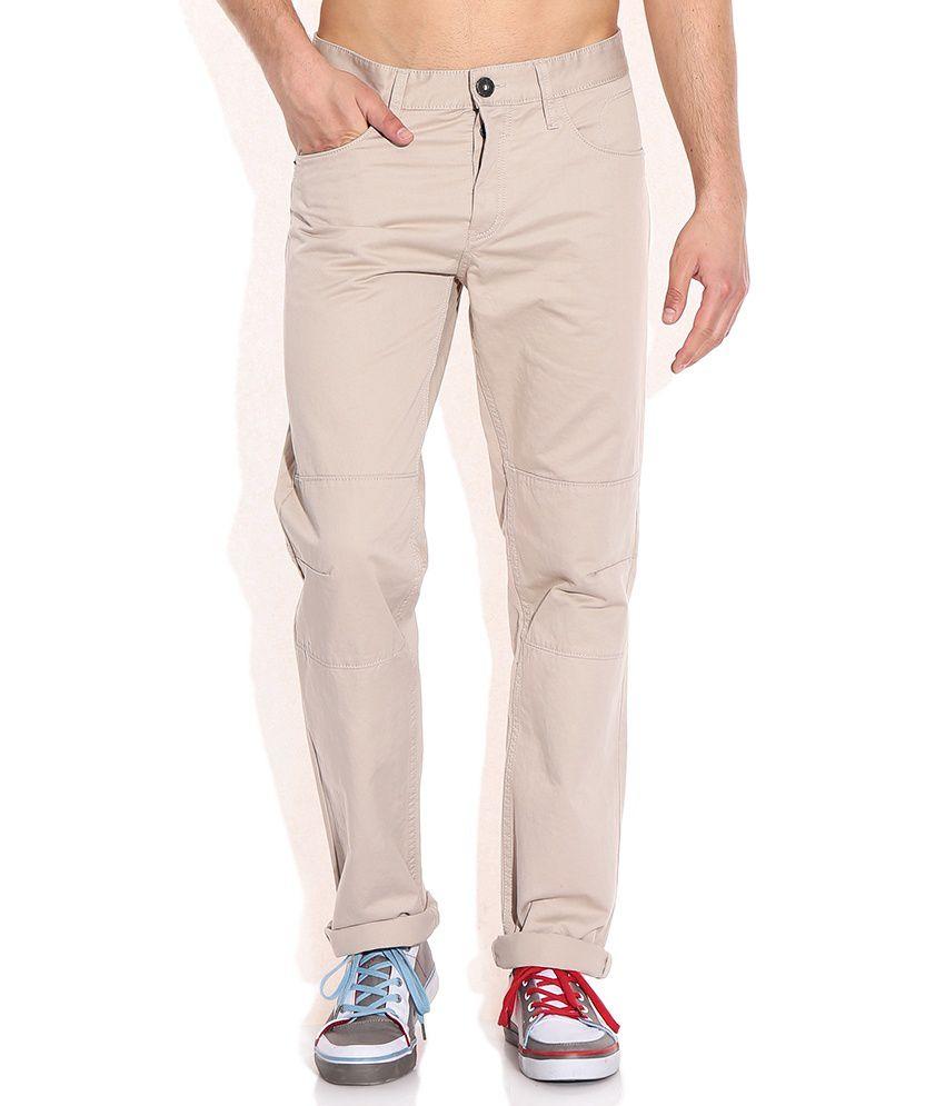 Celio Beige Cotton Trouser