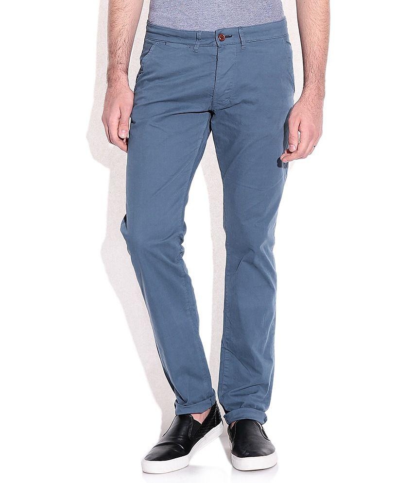 Jack & Jones Blue Slim Fit Casual Trousers