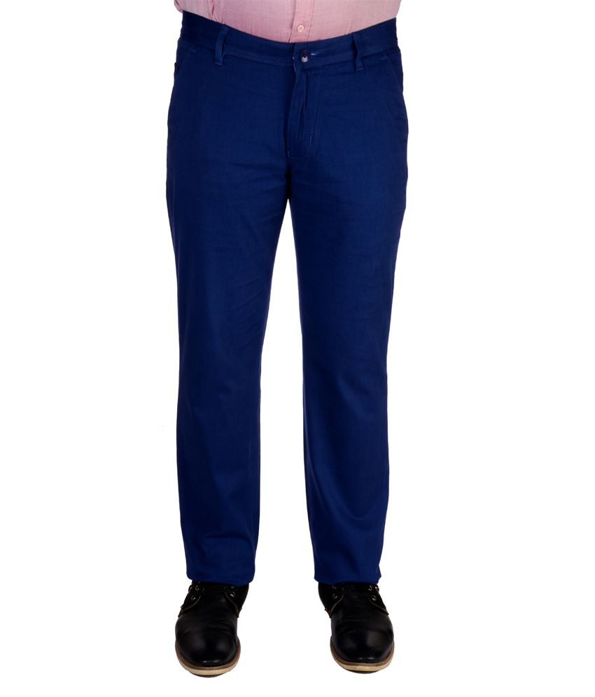 Jargon Fashion Blue Cotton Slim fit Formal Trouser