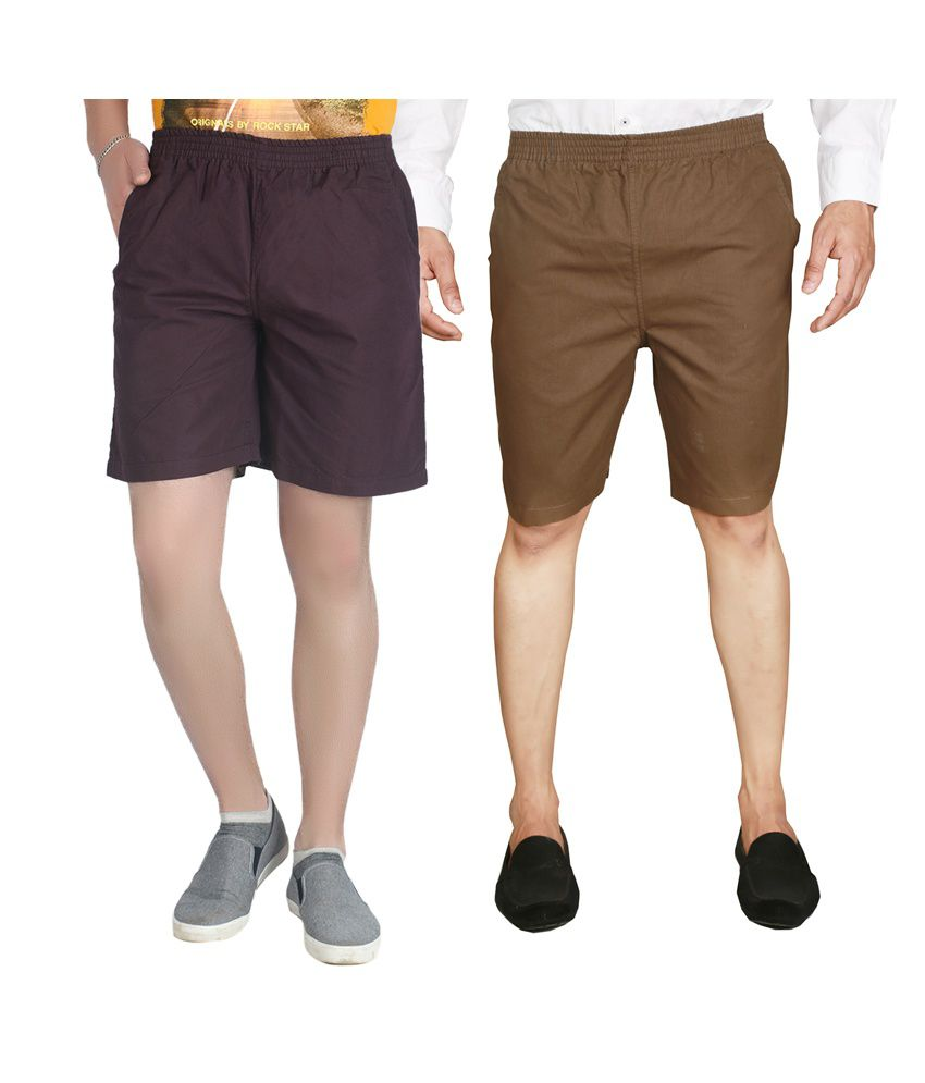 S.A True Fashion Multicolour Cotton Pipping Shorts - Pack of 2