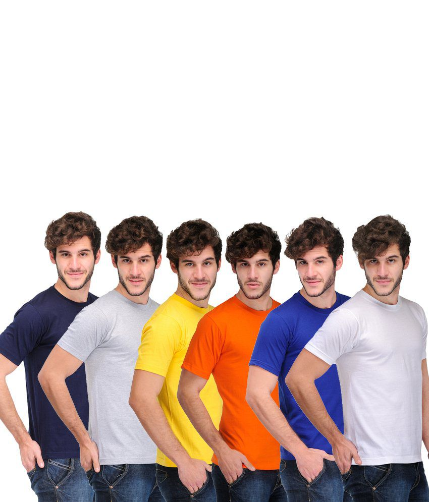 TSX Combo Of 6 Multi-Coloured Basic T Shirts