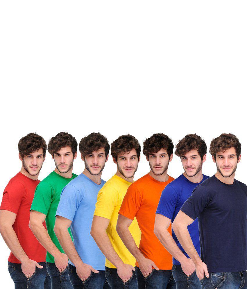 TSX Combo Of 7 Multi-Coloured Basic T Shirts
