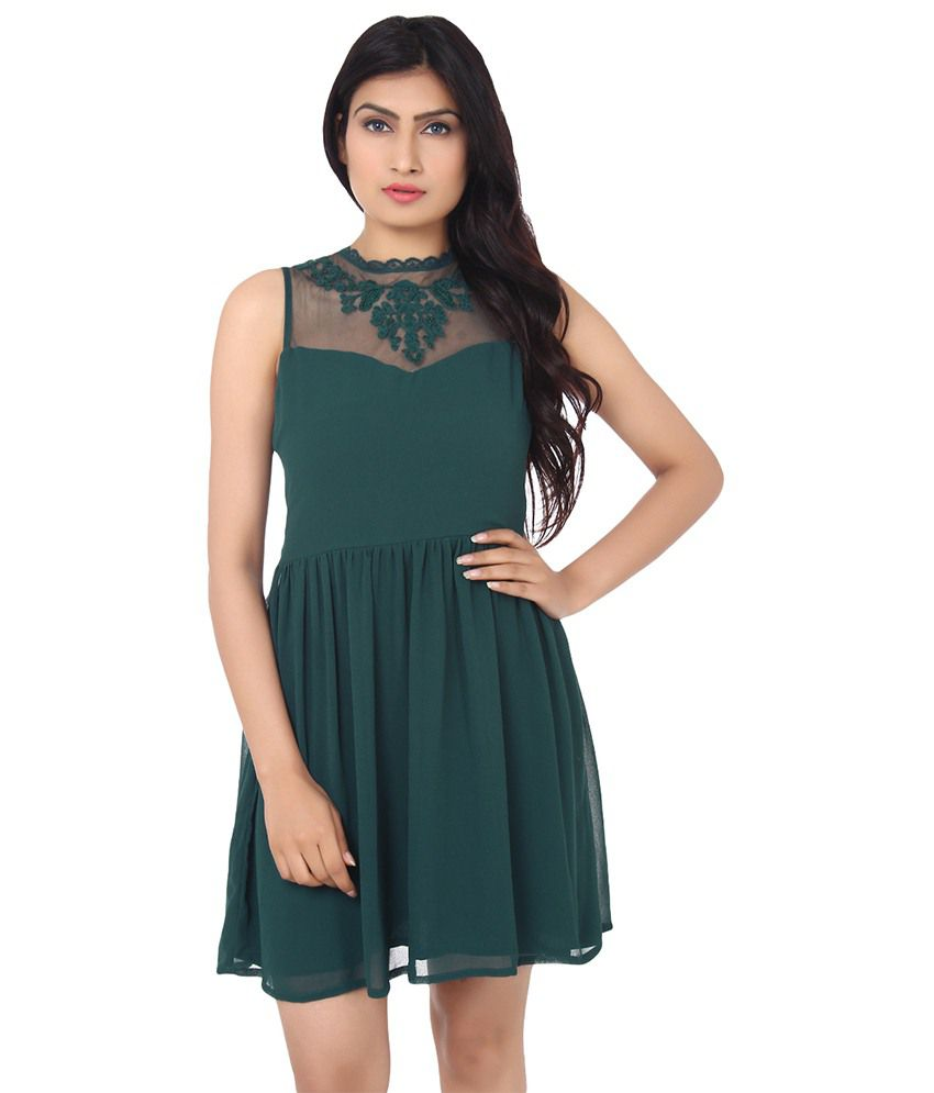 3ccc803ef6 Forever21 Green Chiffon Dresses - Buy Forever21 Green Chiffon Dresses Online  at Best Prices in India on Snapdeal