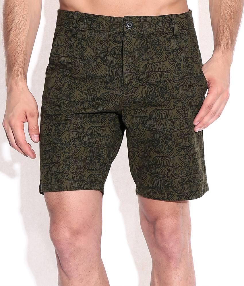 Jack & Jones Olive Green Printed Slim Fit Shorts