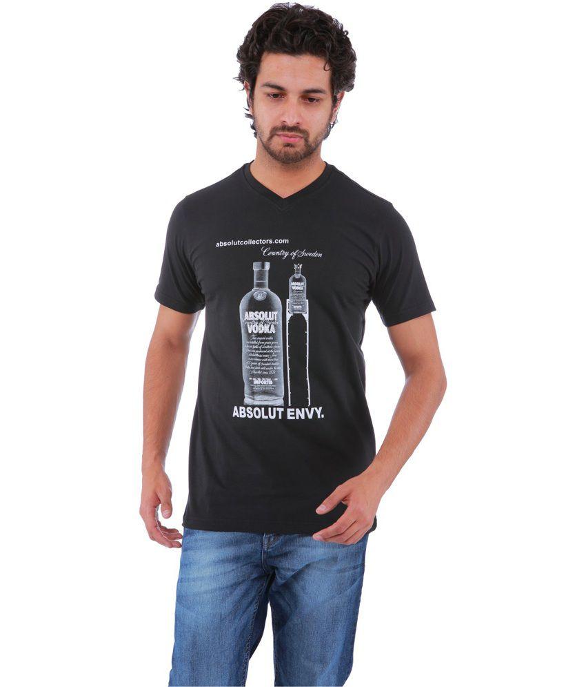 Sportking Black Cotton Printed V-Neck T-Shirt
