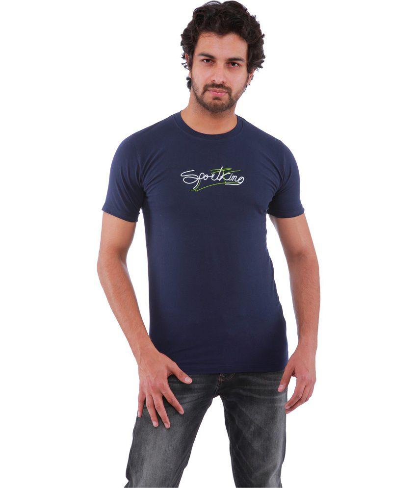 Sportking Navy Cotton Printed Round Neck T-Shirt
