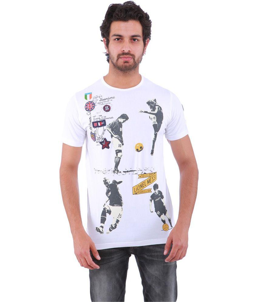 Sportking White Cotton Printed Round Neck T-Shirt