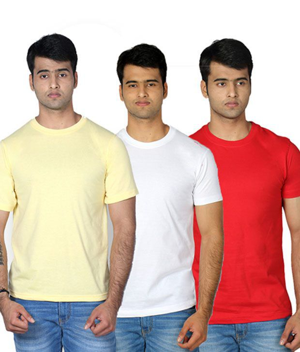 Billy Buddha Yellow Round Neck T Shirt - Pack Of 3