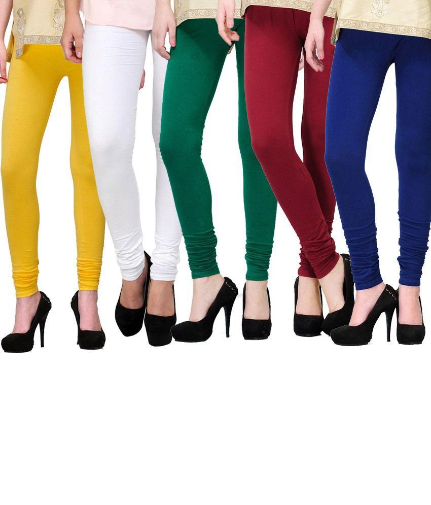 E'hiose Multi Color Cotton Leggings - Pack of 5