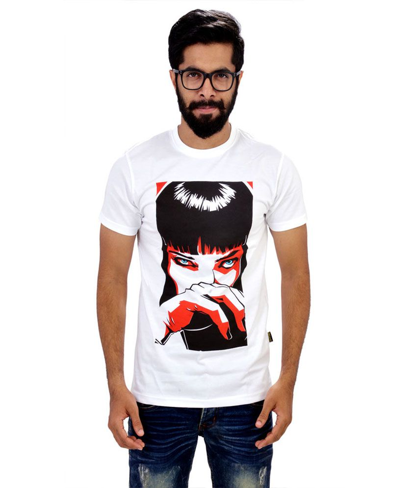 Glittarati White Cotton Round Neck Printed T-shirt
