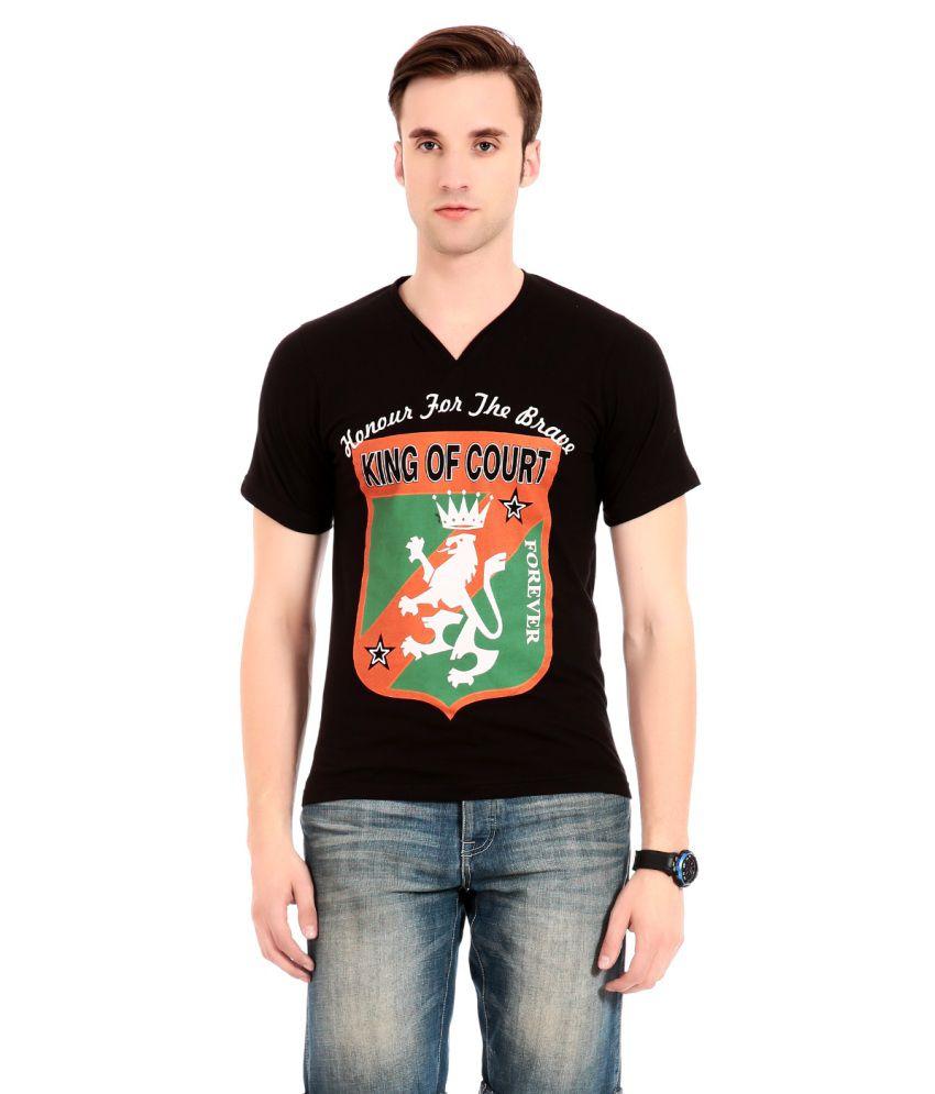 Globalite Black Cotton V-neck T-shirts