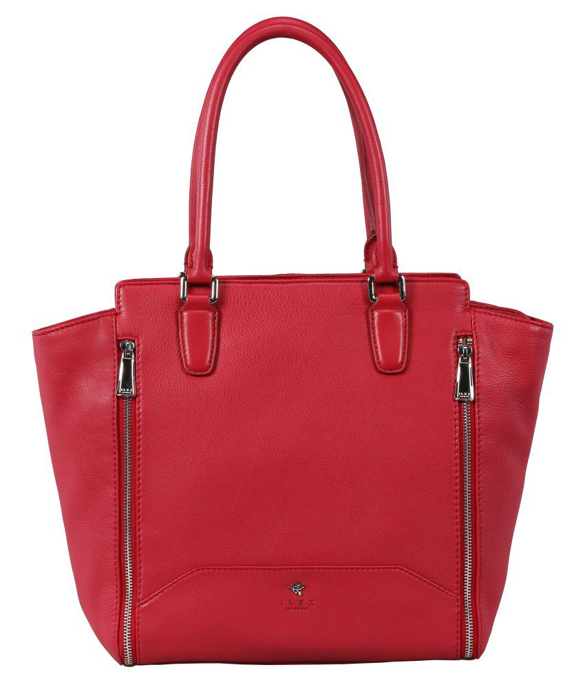 Ilex London Red Leather Tote Bag