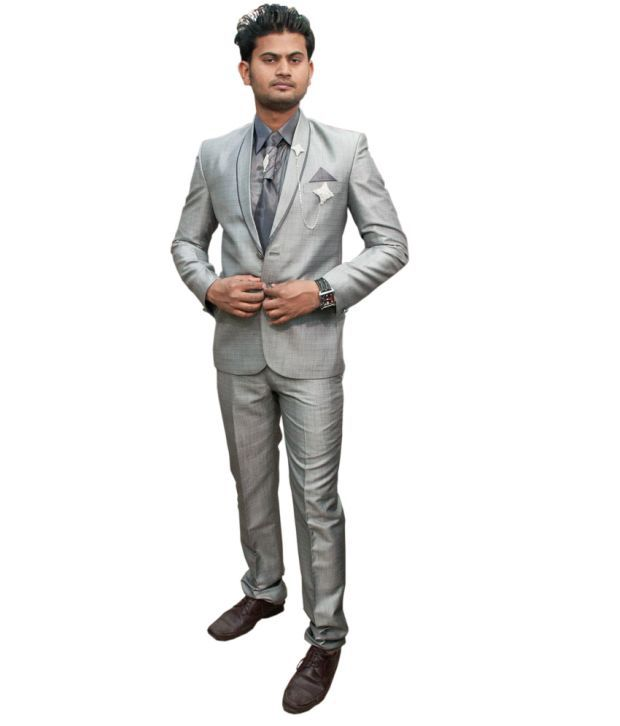 LC Creation Gray Poly Blend Suits For Men